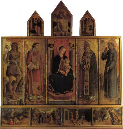Polittico di Massa Fermana - dipinto a tempera e oro su tavola (110x190)cm di Carlo Crivelli, datato 1468 - conservato nella chiesa dei Santi Lorenzo e Silvestro a Massa Fermana