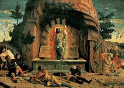 La Resurrezione - dipinto, tempera su tavola (70x92)cm di Andrea Mantegna, datato 1457-1459 - conservato nel Musée des Beaux-Arts di Tours