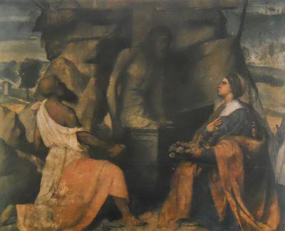 Santi Girolamo e Dorotea adorano Gesù nel sepolcro - dipinto a tempera verniciata su tela (120x140)cm del Moretto 1520-1521 - chiesa di Santa Maria in Calchera di Brescia