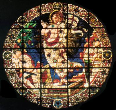 Resurrezione - vetrata (diametro 480 cm) disegnata da Paolo Uccello e realizzata dal vetraio Bernardo di Francesco 1443 - tamburo del Duomo di Firenze