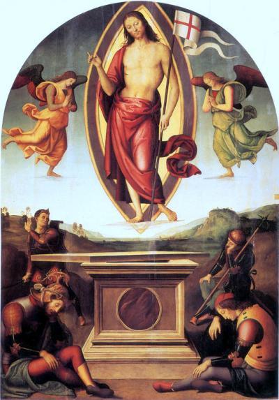 Resurrezione di San Francesco al Prato - dipinto a olio su tavola (233x165)cm di Pietro Perugino 1499 - Pinacoteca Vaticana