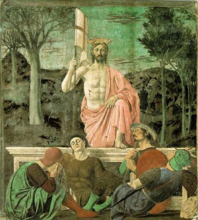 Resurrezione - affresco (225x200)cm di Piero della Francesca - 1450-1463 - conservato nel Museo Civico di Sansepolcro