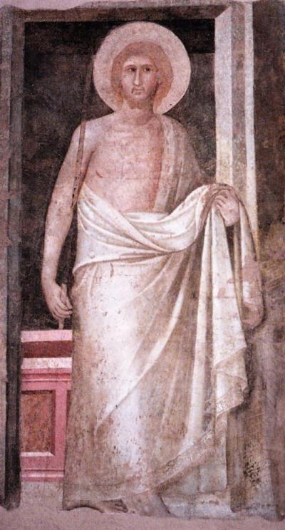 Cristo risorto - affresco staccato di Pietro Lorenzetti, databile 1336-1337 - conservato nel Museo dell'Opera del Duomo a Siena