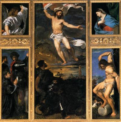 Polittico Averoldi - dipinto a olio su tavola (278x292)cm di Tiziano, databile al 1520-1522 - conservato nella collegiata dei Santi Nazaro e Celso a Brescia - La scena centrale rappresenta la Resurrezione