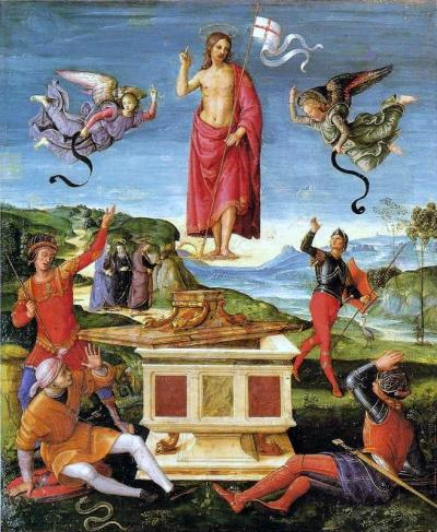 Resurrezione di Cristo - dipinto a olio su tavola (52x44)cm - Raffaello Sanzio 1501-1502 - conservato nel Museo d'Arte di San Paolo, in Brasile