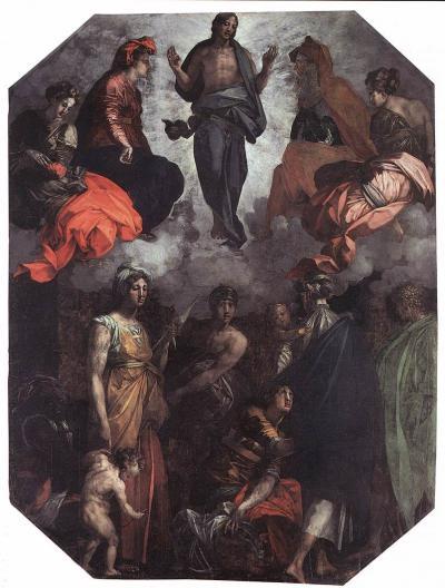Cristo risorto in gloria - dipinto olio su tavola (348x258)cm di Rosso Fiorentino, databile 1528-1530 - conservato nella Museo diocesano a Città di Castello