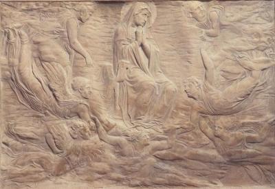 Assunzione della Vergine - rilievo stiacciato (bassissimo rilievo) in marmo bianco (53,5×78 cm) di Donatello, facente parte della tomba Brancaccio della chiesa di Sant'Angelo a Nilo a Napoli.