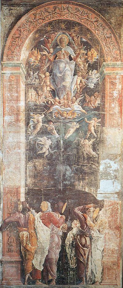Assunzione della Vergine - affresco staccato di Andrea Mantegna (base 238 cm) della cappella Ovetari nella chiesa degli Eremitani a Padova, databile al 1453-1457.